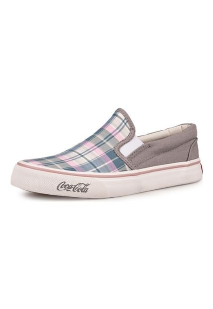 Alpargata Gris Coca-Cola Shoes Late Xadrez Girl